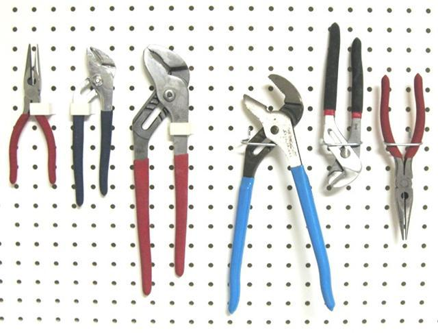 Hang your pliers with pegboard hooks