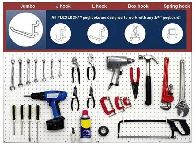 "FlexLock peg hooks can fit any ¼"" pegboard"