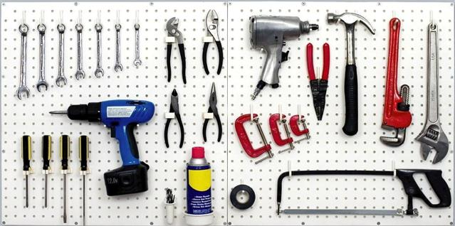 Our plastic pegboard hooks can hold all your tools